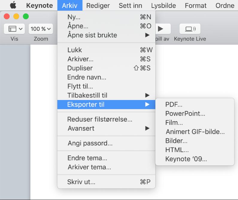 Arkiv-menyen åpen med Eksporter til markert og undermenyen som viser eksportvalg for PDF, PowerPoint, Film, HTML, Bilder og Keynote '09.