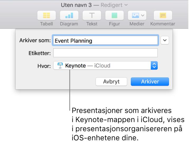 Arkiver-dialogruten for en presentasjon med Keynote – iCloud i Hvor-lokalmenyen.