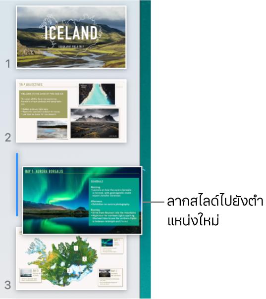 แถบนำทางสไลด์ที่กำลังแสดงรูปย่อสไลด์ที่ถูกจัดลำดับใหม่โดยมีเส้นอยู่ด้านซ้าย