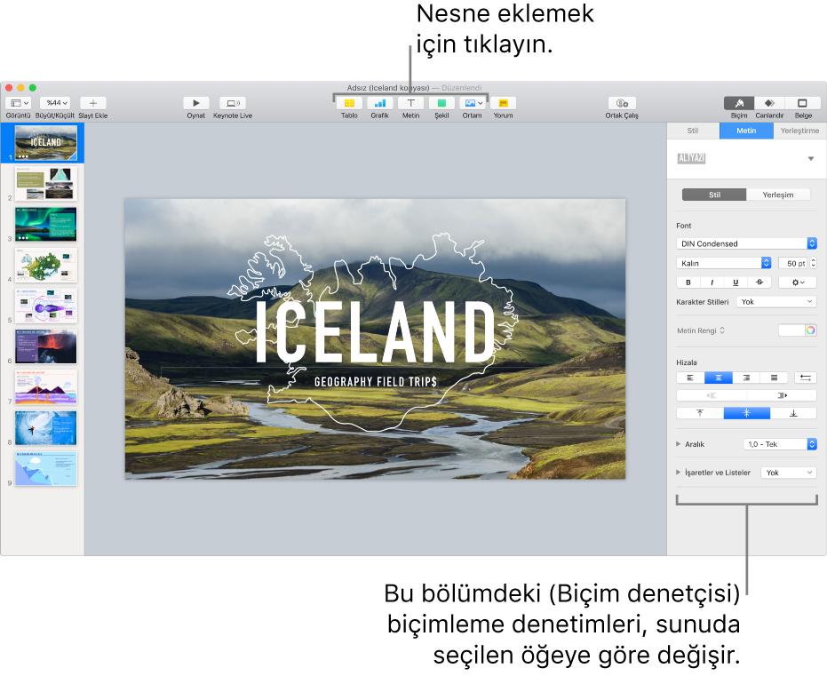 Sol tarafında slayt gezgini, sağ tarafında ise biçim denetçisi açık Keynote penceresi.