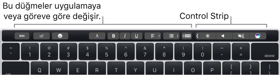Sayı tuşlarının üst tarafında Touch Bar'lı bir klavye. Metni değiştirme düğmeleri solda ve ortadadır. Sağdaki Control Strip'te parlaklık, ses yüksekliği ve Siri sistem denetimleri bulunur.