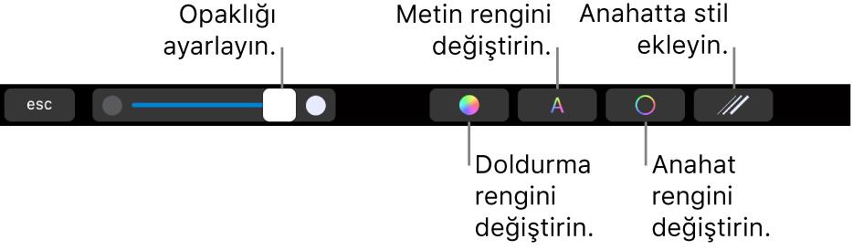 Şeklin opaklığını ayarlama, doldurma rengini değiştirme, metin rengini değiştirme, kontur rengini değiştirme ve kontura stil ekleme denetimleri ile MacBook Pro Touch Bar.