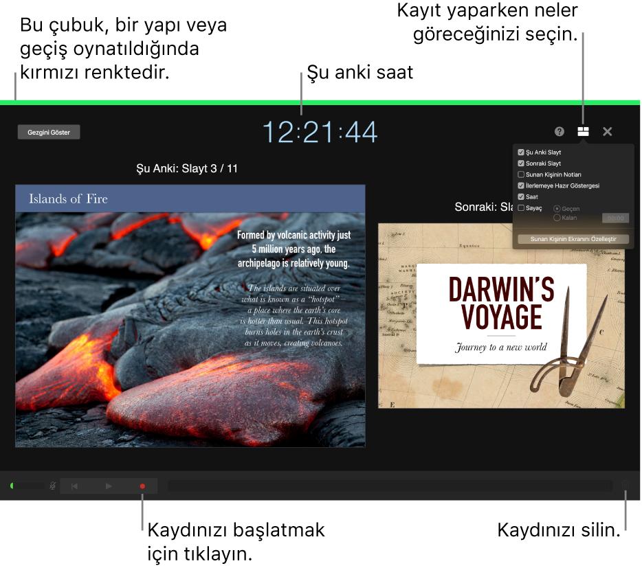Sunan kişi ekranında ses kayıt modunun ekran görüntüsü. Geçerli ve sonraki slayt, o anki saat ve sunan kişi ekranı kontrolleri görünür. Kaydı başlatma ve durdurma kontrolü ve kaydı silme kontrolü, ekranın altına yakın bir yerde görünür.