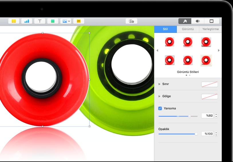 Seçilen görüntünün büyüklüğünü ve görünümünü değiştirmek için Biçim denetimleri. Stil, Görüntü ve Yerleştirme düğmeleri, denetimleri en üst kısmındadır.