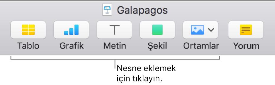 Bir slayta nesne eklemek için kullanılan düğmeleri gösteren Keynote araç çubuğu.
