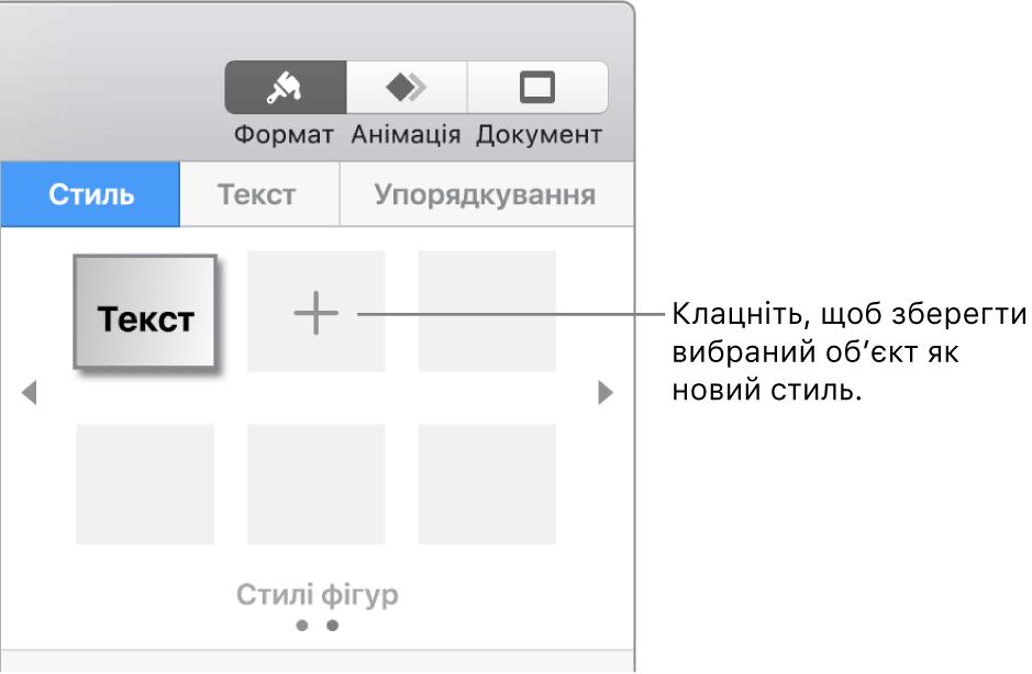 Вкладка «Стиль» на бічній панелі «Формат», один стиль текстового поля, кнопка «Створити стиль» справа, чотири пусті зразки стилю.