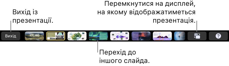 Панель Touch Bar у MacBook Pro з елементами керування презентацією для входу в презентацію, переходу між слайдами і перемикання дисплея доповідача.