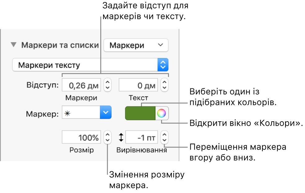 Розділ «Маркери та списки» з виносками для елементів керування відступами маркерів і тексту, кольорами й розміром маркерів, а також вирівнюванням.