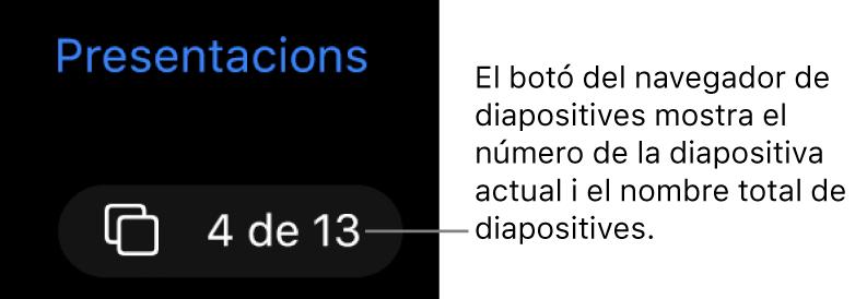 """Botó del navegador de diapositives, que mostra """"4 de 13"""", situat a sota del botó Presentacions, a prop de l'angle superior esquerre del llenç de la diapositiva."""