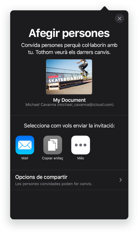 """Pantalla """"Afegir persones"""", que mostra una imatge de la presentació que s'ha de compartir. A sota hi ha els botons amb maneres d'enviar la invitació, com ara el Mail, """"Copiar l'enllaç"""" i Més. A la part inferior hi ha el botó """"Opcions de compartir""""."""