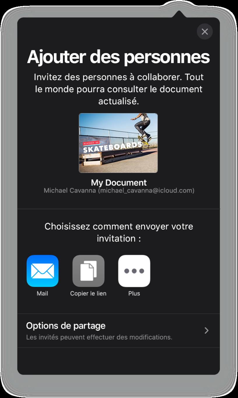 L'écran Ajouter des personnes affichant une image de la présentation à partager. En dessous se trouvent des boutons permettant d'envoyer l'invitation de diverses façons, notamment les boutons Mail, Copier le lien et Plus. Au bas se trouve le bouton Options de partage.