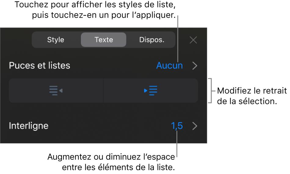 La section «Puces et listes» des commandes de formatage avec des légendes pour «Puces et listes», les boutons d'indentation et de suppression d'indentation et les commandes d'espacement entre les lignes.