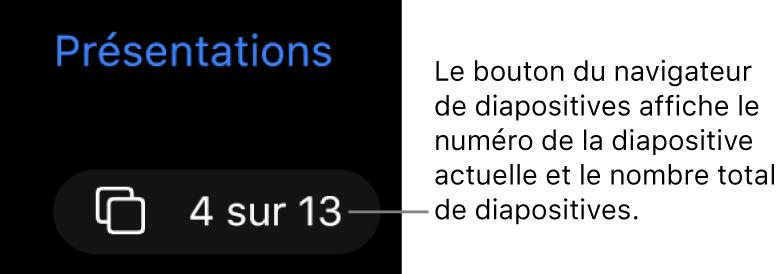 Bouton du navigateur de diapositives affichant 4 sur 13, situé sous le bouton Présentations près du coin supérieur gauche du canevas de diapositive.