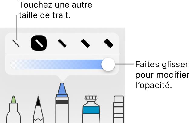 Commandes pour choisir une épaisseur de trait et curseur pour ajuster l'opacité.