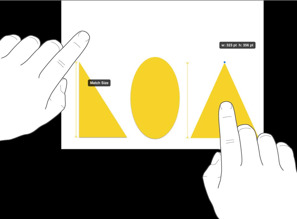 Eén vinger net boven een vorm en een andere vinger op een object met de optie 'Maak even groot' op het scherm.