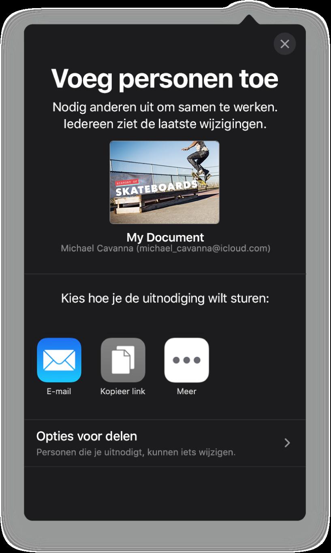 Het scherm 'Voeg personen toe' met daarin een afbeelding van de presentatie die wordt gedeeld. Eronder staan knoppen voor de manieren waarop de uitnodiging kan worden verstuurd, waaronder Mail en 'Kopieer koppeling'. Onder in het scherm staat de knop 'Opties voor delen'.