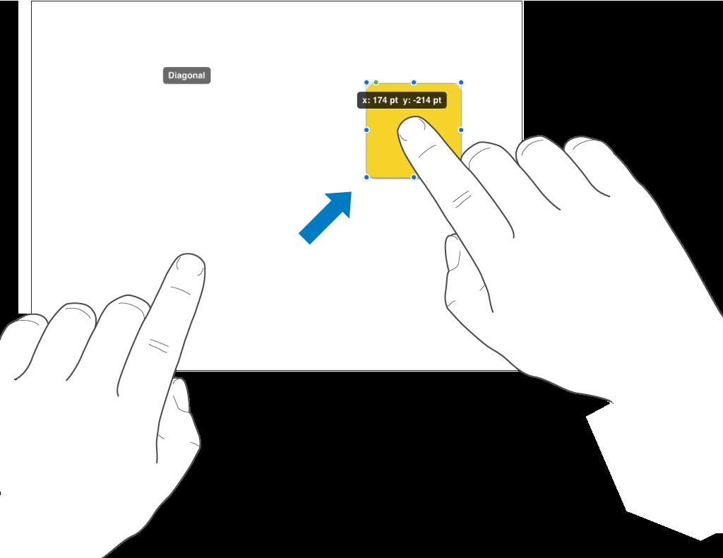 Eén vinger waarmee een object wordt geselecteerd en een tweede vinger die een veeggebaar maakt naar de bovenkant van het scherm.