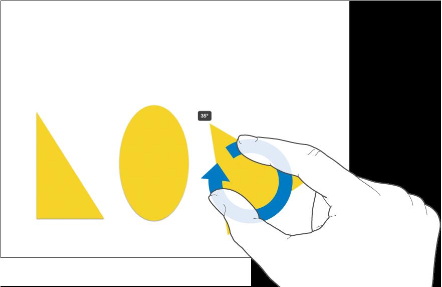 Twee vingers die een object roteren.