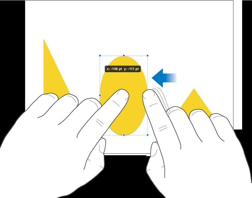 Eén vinger op een object en een tweede vinger die een veeggebaar maakt in de richting van het object.
