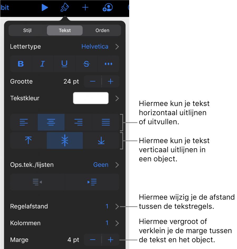 Het paneel 'Lay-out' met uitleg bij tekstuitlijn- en afstandsknoppen.