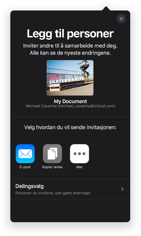 Legg til personer-skjermen som viser et bilde av presentasjonen som skal deles. Nedenfor er knapper for måter å sende invitasjonen på, blant annet Mail, Kopier kobling og Mer. Delingsvalg-knappen er nederst.