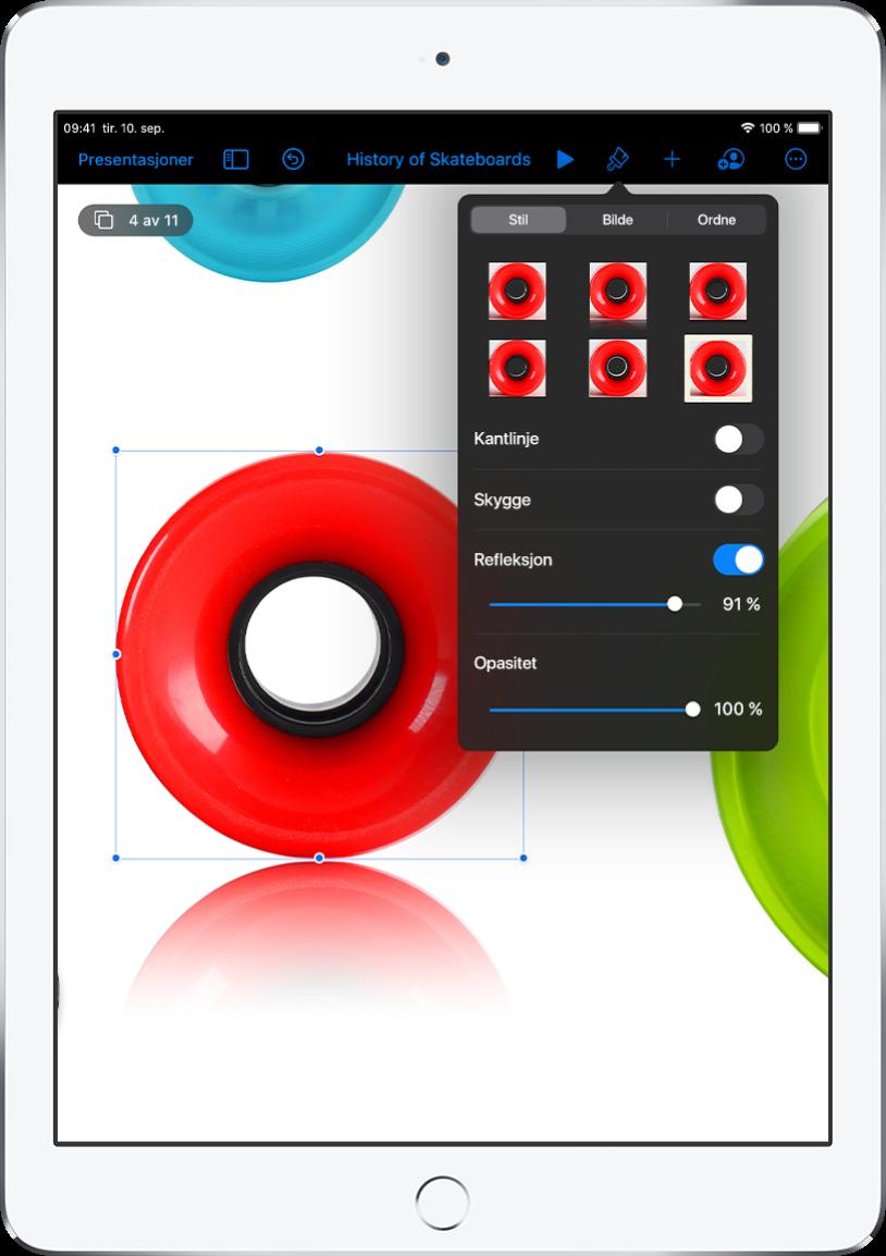 Format-kontrollene for å endre størrelsen og utseendet på det valgte bildet. Knappene Stil, Bilde og Ordne vises langs toppen.