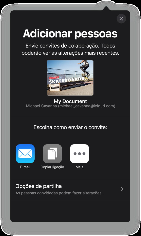 """O ecrã """"Adicionar pessoas"""" a mostrar uma imagem da apresentação a ser partilhada. Por baixo encontram botões para formas de enviar o convite, incluindo Mail, """"Copiar hiperligação"""" e Mais. Na parte inferior encontra-se o botão """"Opções de partilha""""."""
