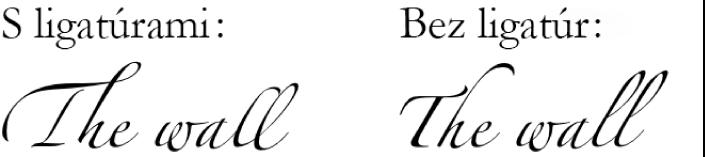 Príklady na text sligatúrami abez nich.