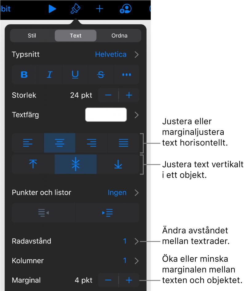 Panelen Layout med linjer som pekar på knapparna för textjustering och mellanrum.