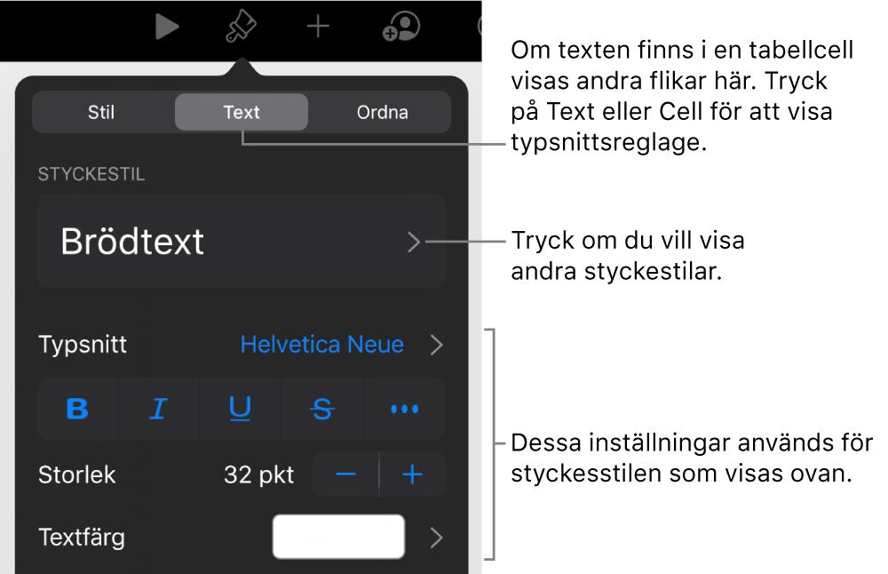 Menyn Format med textreglage för att ställa in stycke- och teckenstilar, typsnitt, storlek och färg.
