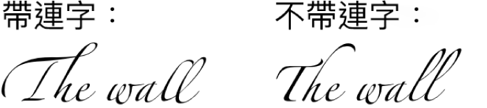 使用連字和不使用連字的文字範例。