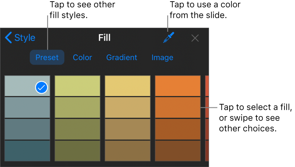 Fill options in the Style tab.