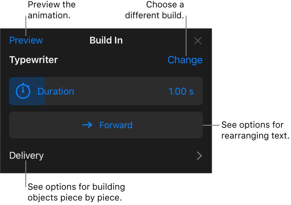 Build options include Duration, Text Animation, and Delivery. Tap Change to choose a different build, or tap Preview to preview the build.