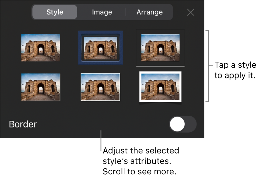 The Style tab of the Format menu with object styles at the top and a control below them to change the border.