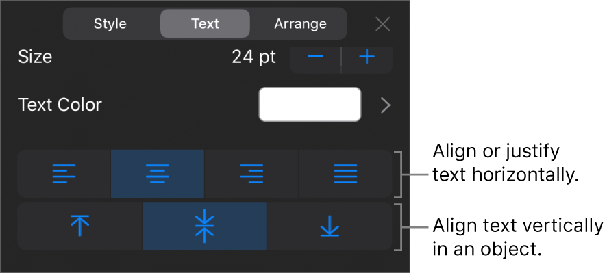 The Alignment section of the Format button with callouts to text alignment buttons.