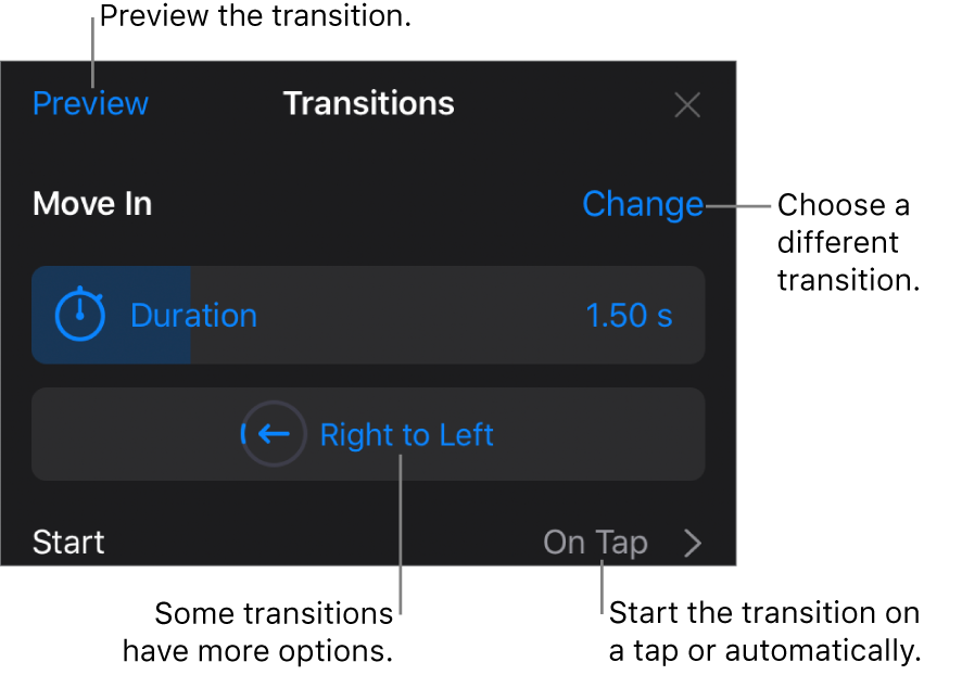 Controls in the Options pane for modifying a transition.