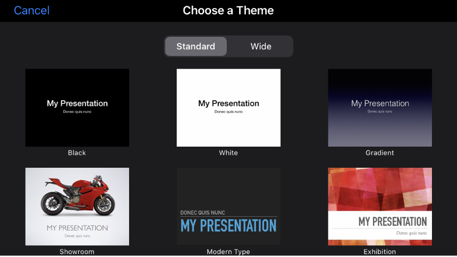 The theme chooser, showing predesigned themes you can use to begin presentations.