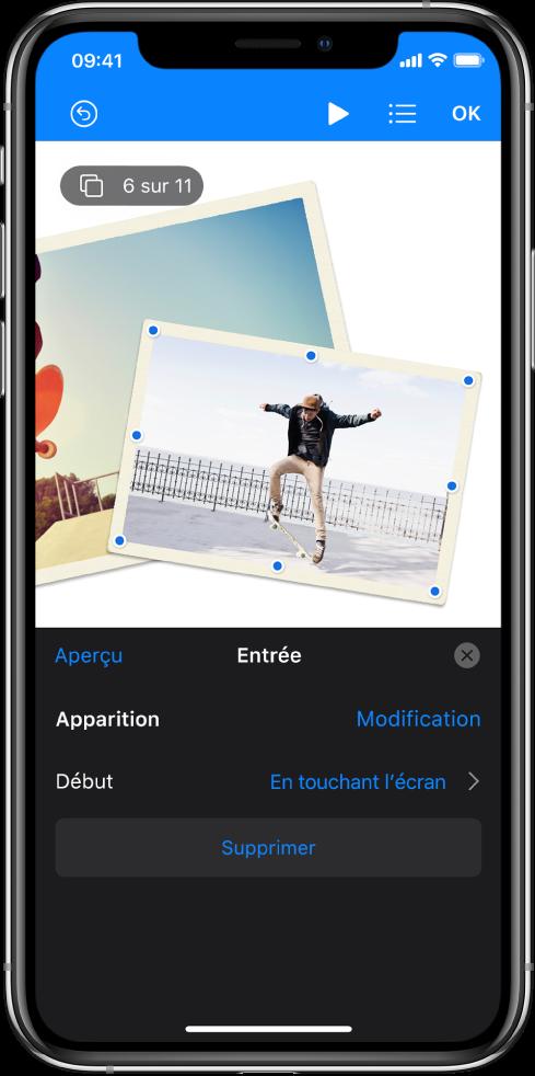 Les commandes d'animation pour l'image sélectionnée dans la diapositive. Au bas de l'écran se trouvent les commandes pour l'effet Entrée en cours d'utilisation.