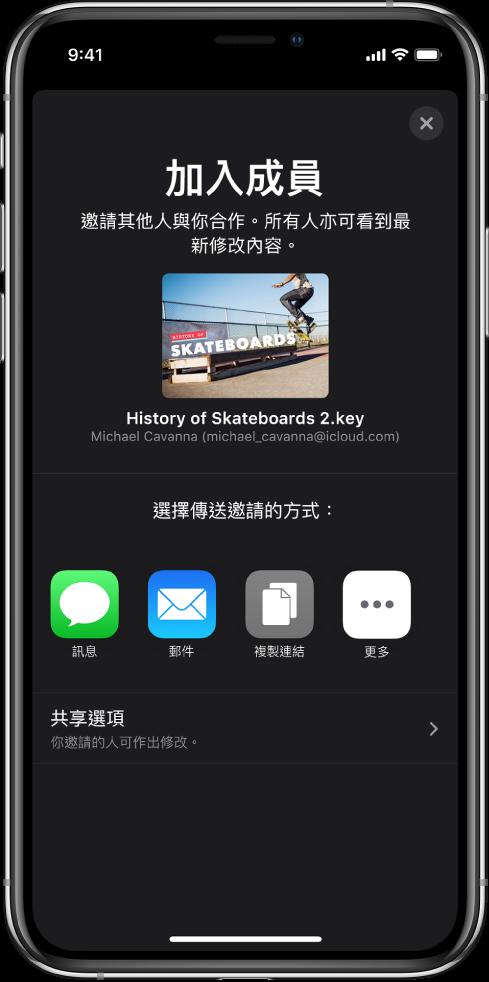 「加入成員」畫面顯示要共享簡報的圖片。其下方為傳送邀請的方式,包括「訊息」及「郵件」、「複製連結」等等。最下方是「分享選項」按鈕。