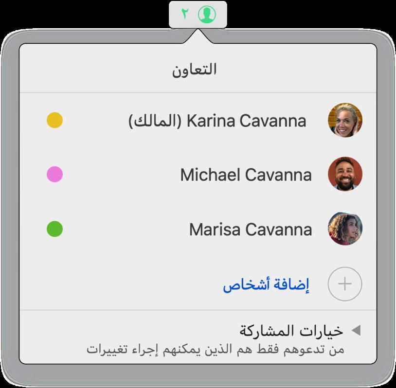 قائمة التعاون تعرض أسماء الأشخاص المتعاونين على جدول البيانات. تتوفر خيارات المشاركة تحت الأسماء.