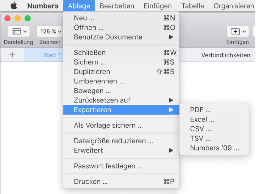 """Das geöffnete Menü """"Ablage"""" mit ausgewähltem Untermenü """"Exportieren"""" und den Exportoptionen für PDF, Excel, CSV und Numbers '09."""