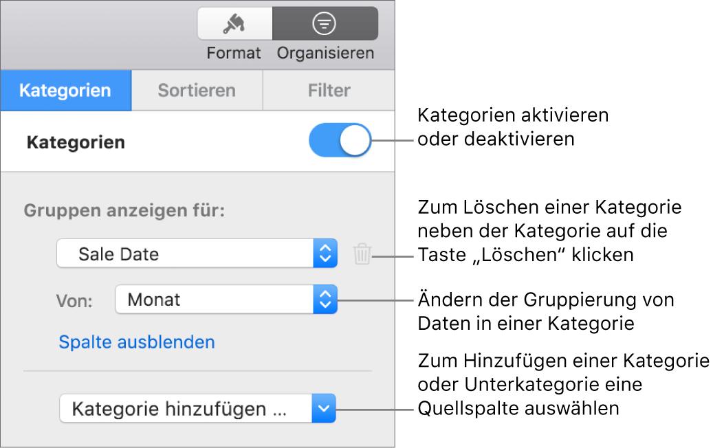 """Die Seitenleiste """"Kategorien"""" mit Optionen zum Deaktivieren von Kategorien, Löschen von Kategorien, Neugruppieren von Daten, Ausblenden einer Quellenspalte und Hinzufügen von Kategorien"""
