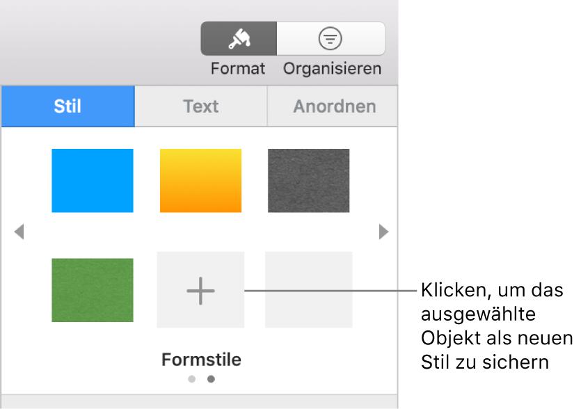 """Der Bereich """"Stil"""" der Seitenleiste """"Format"""" mit vier Bildstilen, einer Taste """"Stil erstellen"""" und einem leeren Stilplatzhalter"""