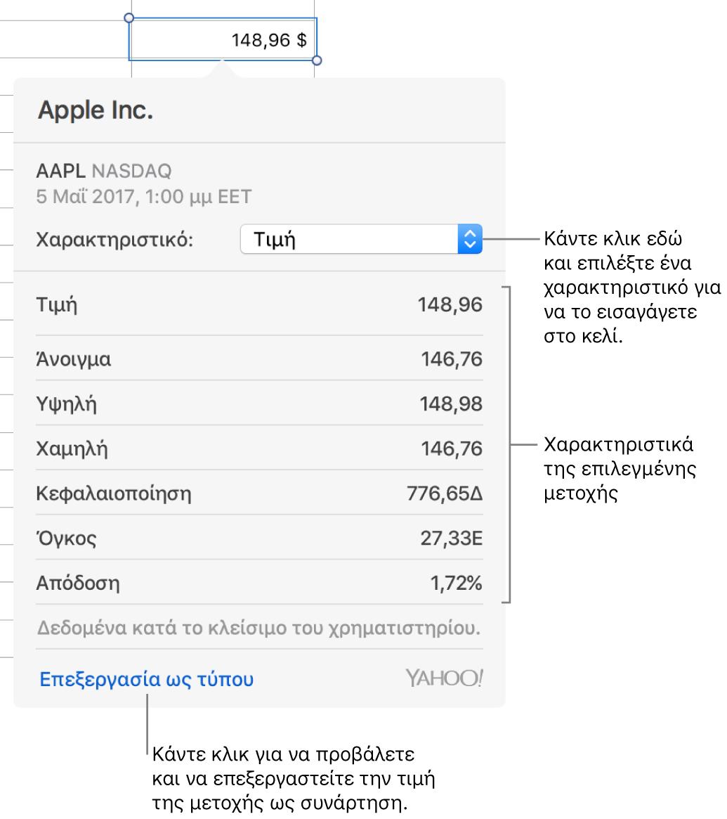 Το πλαίσιο διαλόγου για την εισαγωγή πληροφοριών χαρακτηριστικών μετοχών, με επιλεγμένη τη μετοχή της Apple.