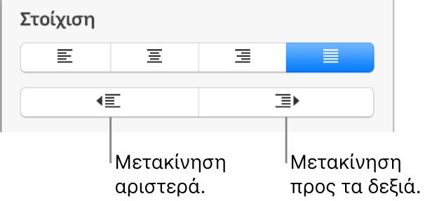 Επιλογές στοίχισης παραγράφου.