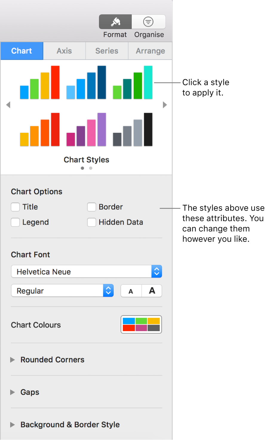 The Formatting sidebar showing the controls for formatting charts.