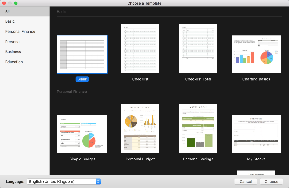 The template chooser. On the right are thumbnails of predesigned templates you can use to begin creating spreadsheets. A sidebar on the left lists template categories you can click to filter options.