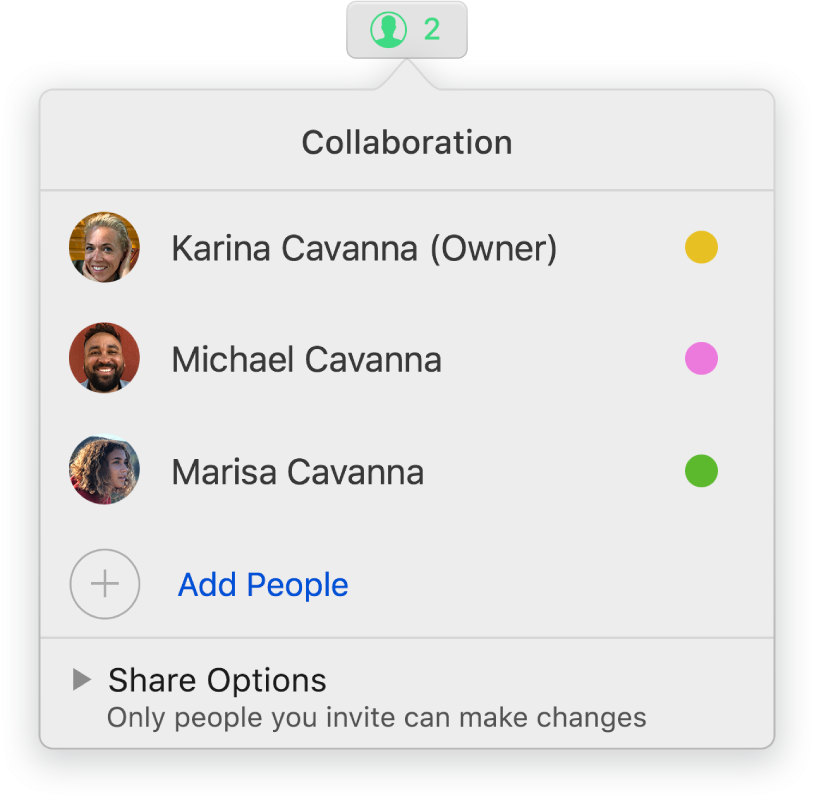 The Collaboration menu showing the names of people collaborating on the spreadsheet. Share options are below the names.