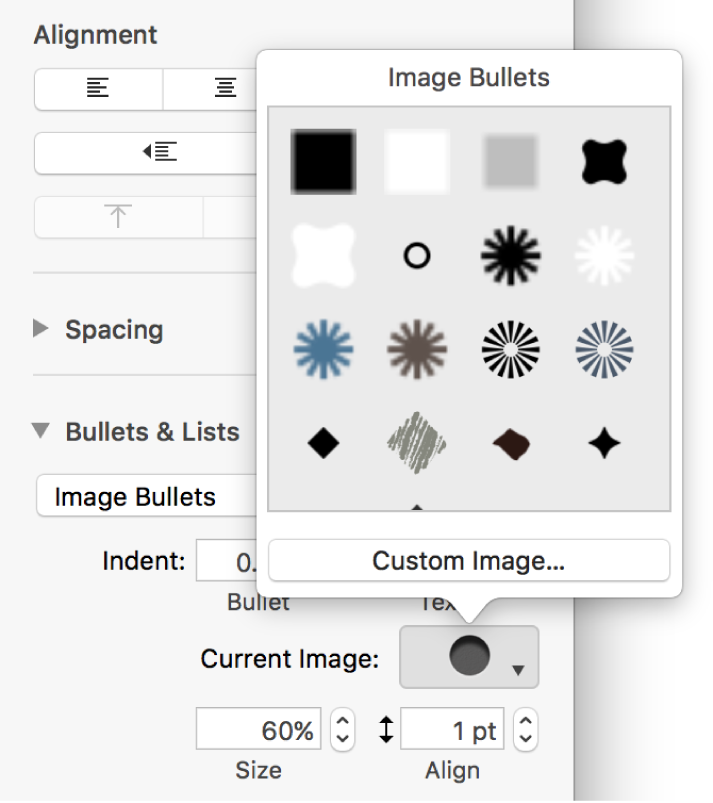 The Image Bullets pop-up menu.