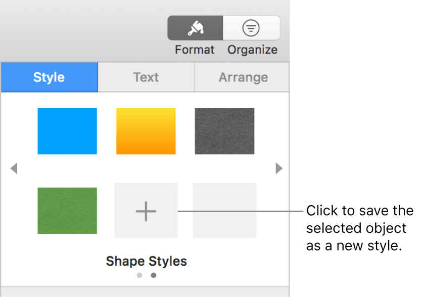 The Style tab of the Format sidebar with four image styles, a Create Style button, and an empty style placeholder.